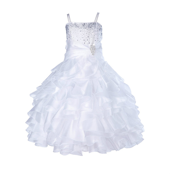 Elegant Rhinestone Organza Pleated Ruffled Beauty Pageant Special Occasion Flower Girl Dress 164S(1)