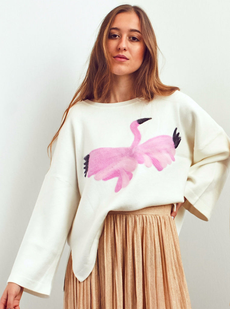 Oversized Flamingo Sweater - Shop online women's sweaters at She Is Rebel