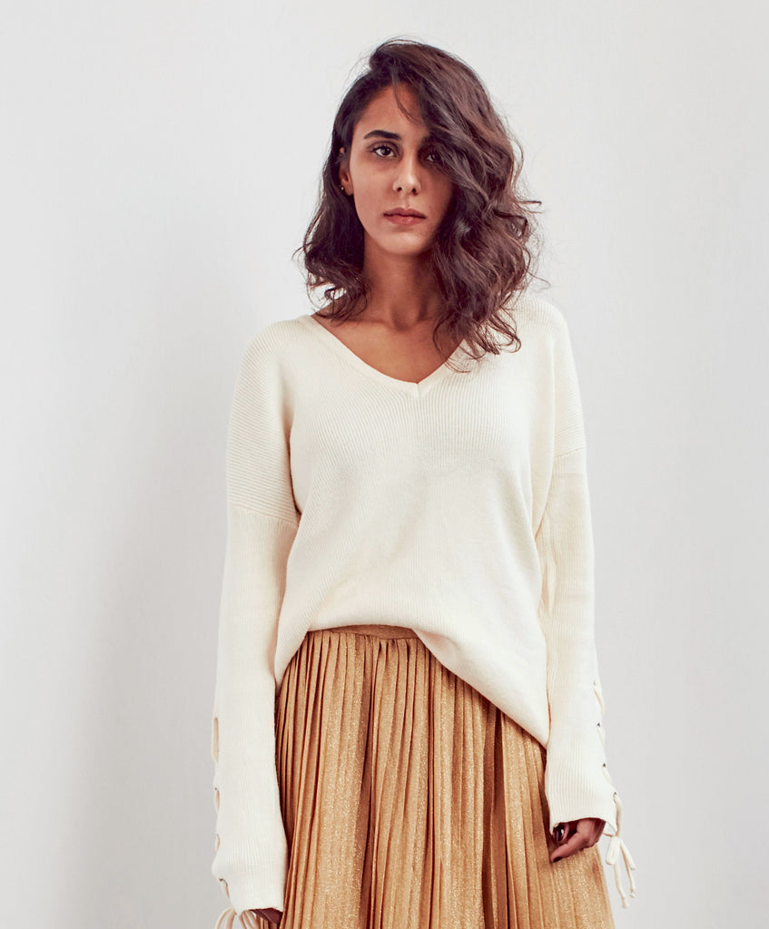 Beige Bow Sweater With V Neck - Shop women's sweaters online at She Is Rebel