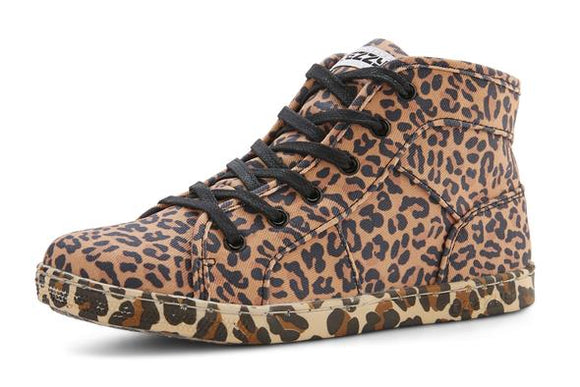 DEZZYS LEOPARD PRINT HI TOP CANVAS SNEAKERS