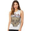 Skull Wearing British Crown  Women's Flowy Scoop Muscle Tank