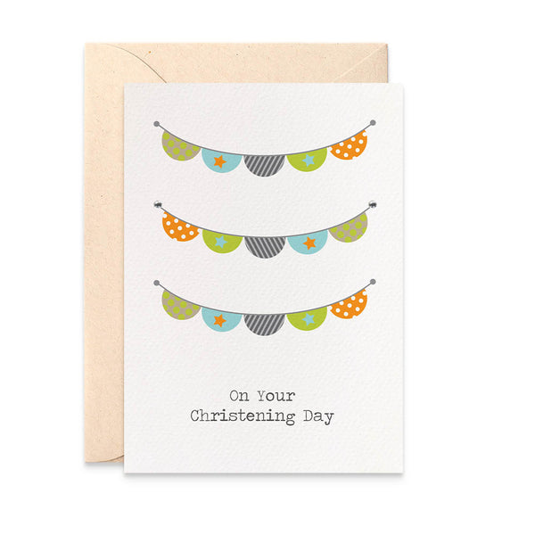 Christening Boys Bunting Greeting Card by mumandmehandmadedesigns- An Australian Online Stationery and Card Shop