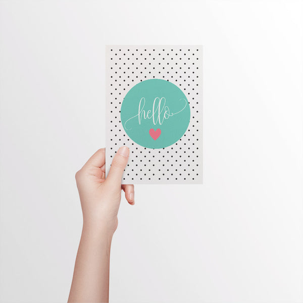 Hello Turquoise Circle Greeting Card by mumandmehandmadedesigns- An Australian Online Stationery and Card Shop