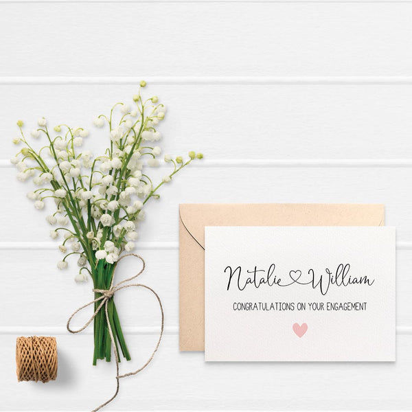 Personalised - Engagement Names with Heart Greeting Card by mumandmehandmadedesigns- An Australian Online Stationery and Card Shop