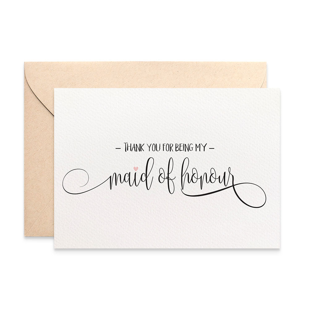 Thank you Maid of Honour Script Greeting Card by mumandmehandmadedesigns- An Australian Online Stationery and Card Shop