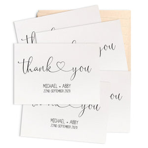 Set of 10 - Personalised Wedding Thank You Greeting Card by mumandmehandmadedesigns- An Australian Online Stationery and Card Shop