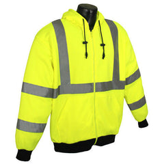 Radians SJ01-3 Hi Vis Class 3 Hooded SweatShirt...Lime Gree...ANSI - US Safety Supplies