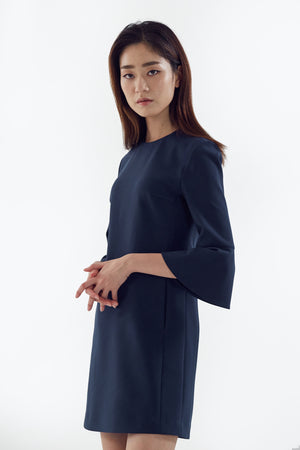 blue dress with flared sleeves