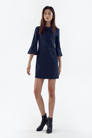 blue stretch flared sleeve dress