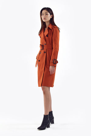 brick orange trench coat