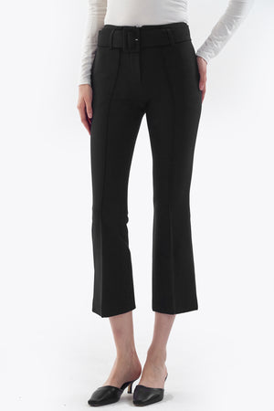 black flare pants with buckle