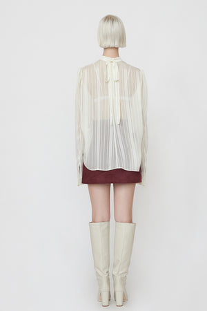Sheer Stripe Blouse in White