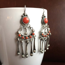 Beautiful Handmade 3.21 Carat Red Coral Sterling Silver Chandelier Earrings