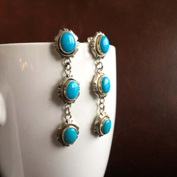 Simple Sterling Silver Small 3-Stoned Kingman Turquoise Dangle Earrings