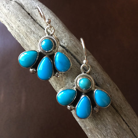 Cluster Sleeping Beauty Turquoise Sterling Earrings Handmade by Bobby Johnson