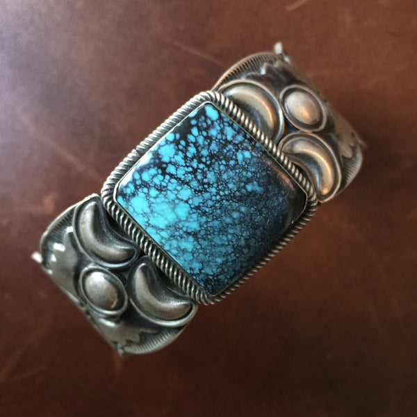 Sterling Silver Bracelet with Chinese Hubei Turquoise Signed Paul Livingston
