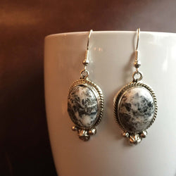 Handmade Sterling Silver Medium Oval White Buffalo Earrings Variation 1