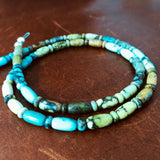 "16"" Mixed Length Damele Turquoise Beaded Necklace Cut to Perfection"