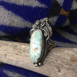 Handmade Sterling Silver Dry Creek Turquoise Ring Signed J Size 6.5
