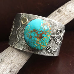 Navajo Handmade Sterling Silver Blue Gem Turquoise with 18K Gold Cuff Bracelet