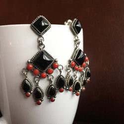 Mini Clustered 3.8 Carat Red Coral with Black Onyx Chandelier Earrings