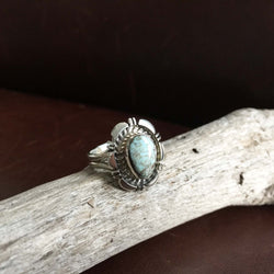 Beautiful Mini Sterling Silver Single Stone Dry Creek Turquoise Ring Size 6.5