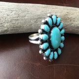 Beautiful Sky Blue Sleeping Beauty Turquoise Flower Cluster Ring Size 8.5