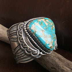 Large Sterling Silver Triangle Blue Gem Turquoise Statement Cuff Bracelet