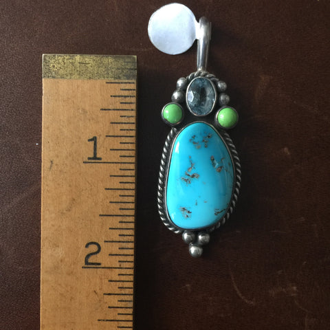 Natural Sleeping Beauty Turquoise Silver Pendant with Gaspeite Blue Topaz Signed