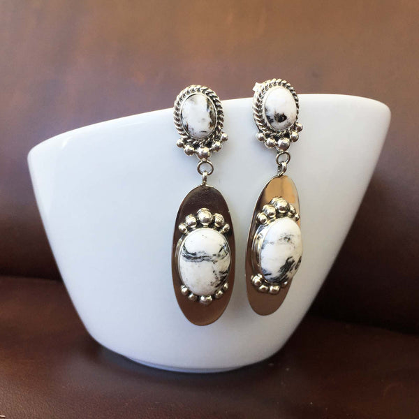 Classic Handmade Sterling Silver Long Oval White Buffalo Dangle Earrings
