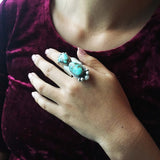 Beautiful Two Stoned Royston Turquoise Sterling Silver Ring Size 8