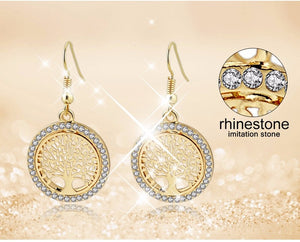 Dangle Earring Gold plated Crystal stones   Earring With Tree Of Life Pendant Vintage Jewelry