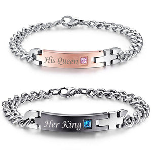 Customized Named Bracelet. Unique Gift for Lover Couple. Stainless Steel Bracelets