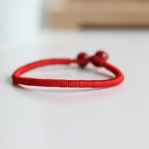 Lucky Bracelets Red Bead String Ceramic Handmade. ( Set of 2 )