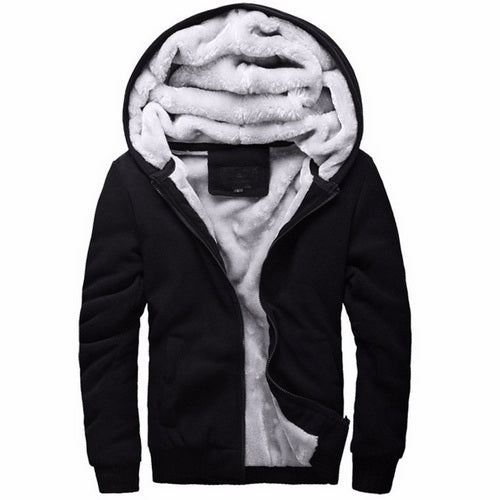 Winter Thicken Hoodies Men's Coat Zipper Hooded Thick Warm