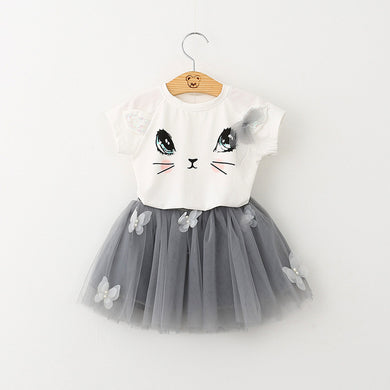 Girls Dress Kids Clothes White Cartoon Short Sleeve Babys T-Shirt+Veil 2Pcs baby girl clothes for 2-6 Yaers model #  AZ172-B