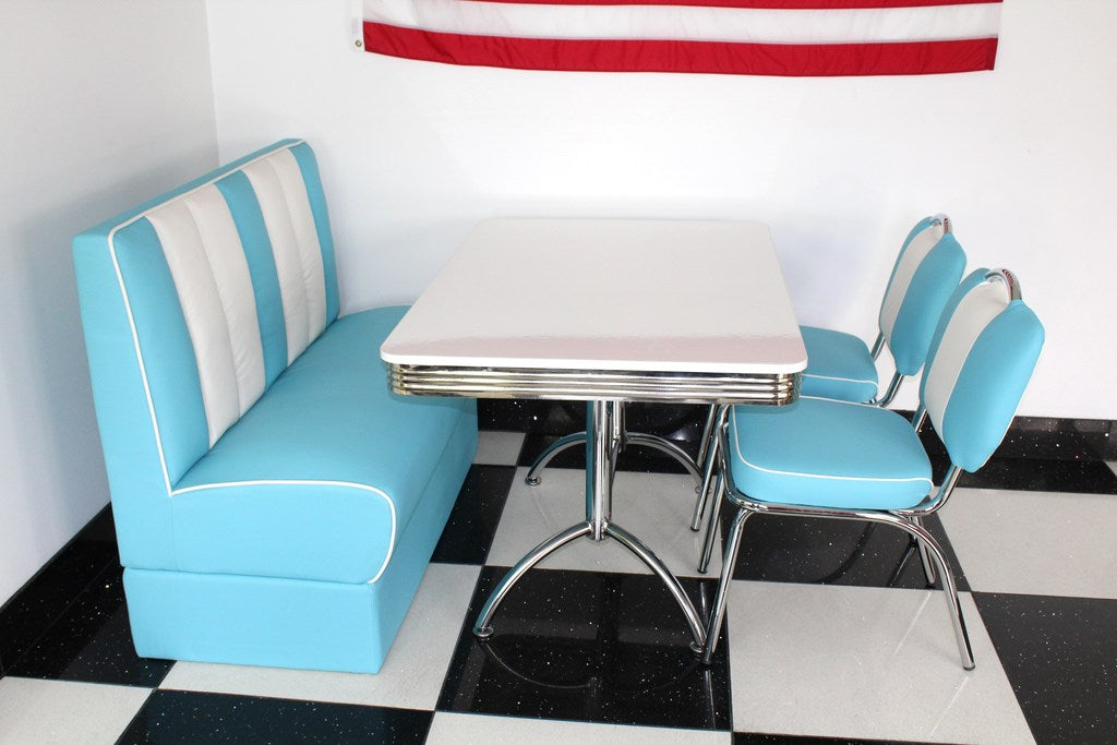 Blue Booth 2 Chairs And White Booth Table Just Americana