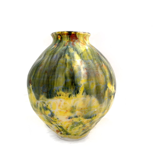 Buy 'Medium Round Yellows Vase' original handmade ceramics by George Ormerod at The Biscuit Factory