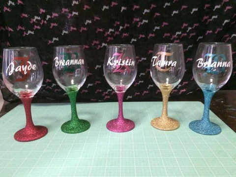 Personalised Glitter stem wine glass