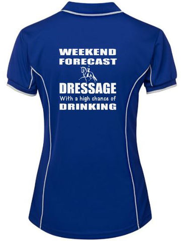 Weekend forecast, dressage & drinking polo shirt