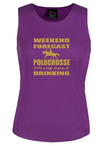Weekend forecast Polocrosse and drinking  singlet
