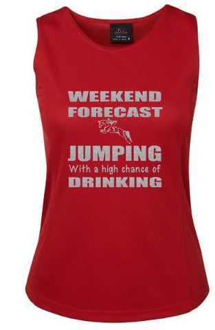 Weekend forecast Jumping and drinking  singlet