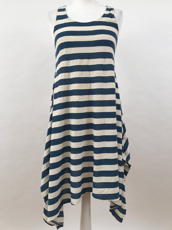 Midi Sleeveless - Wide Stripes - Blue