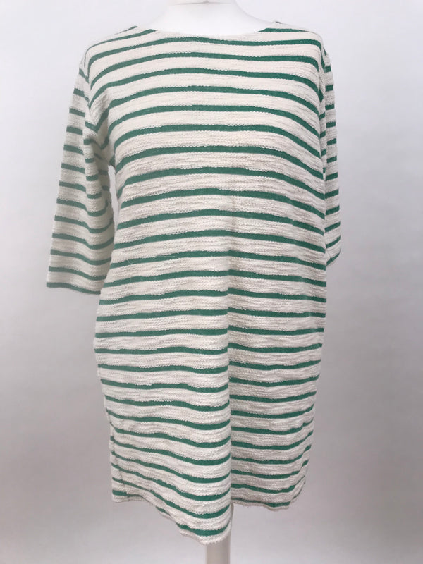 Fluffy Green Stripe Long Sleeve Dress
