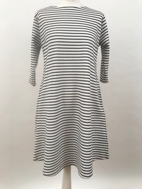 White Blue Stripes Long Sleeve Dress