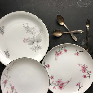 The Cherry Blossom Collection - Vintage Mix & Match Grey and Pink Floral Plates - Set of Three