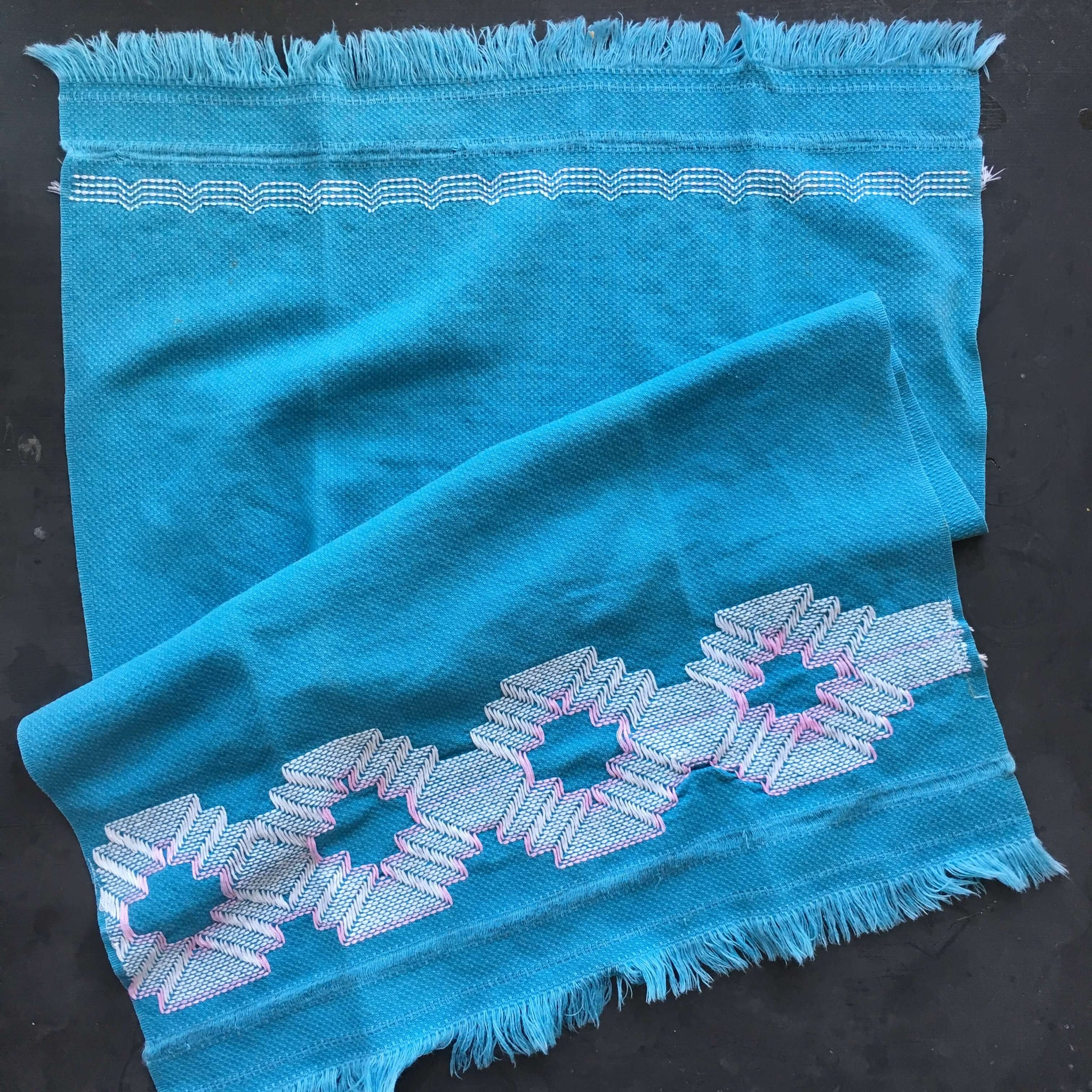 Vintage Teal Blue Cotton Kitchen Towel  with Embroidered Boho Design