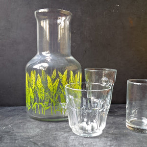 Libbey Spring Wheat Juice Carafe - Vintage 1970s Green Wheat Grass Glass