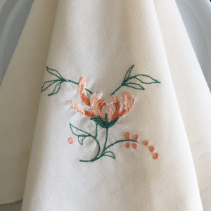 Vintage Grey and Peach Embroidered Cotton Napkins - Scalloped Edge with Floral Embroidery - Set of Two