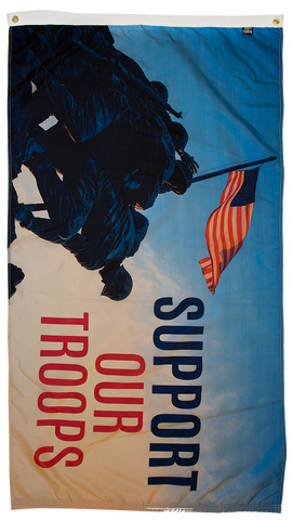 Support our troops flag with soldiers front